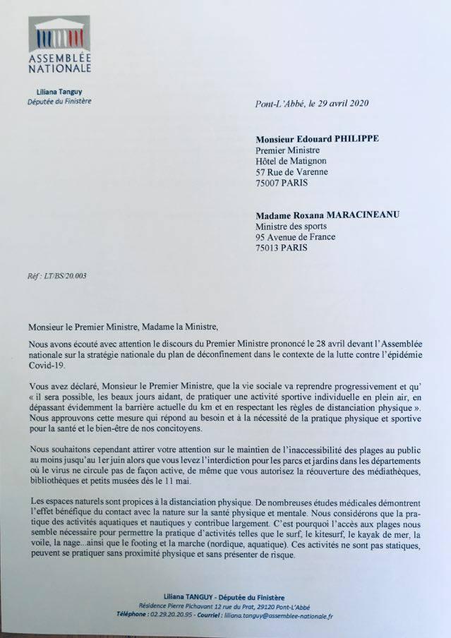 Courrier adressé au premier ministre