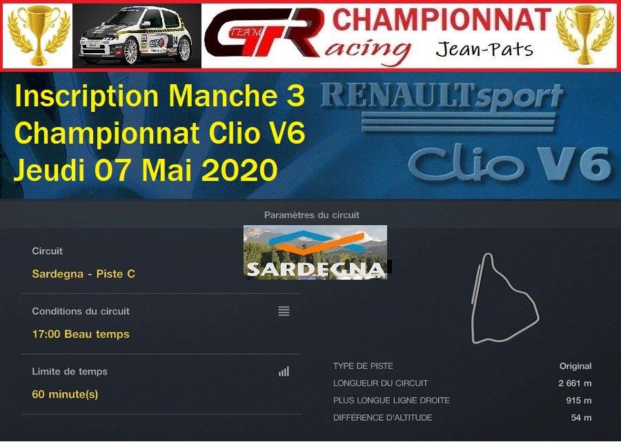 INSCRIPTION MANCHE 3 DU CHAMPIONNAT CLIO V6 07/05/2020 200501074341370909