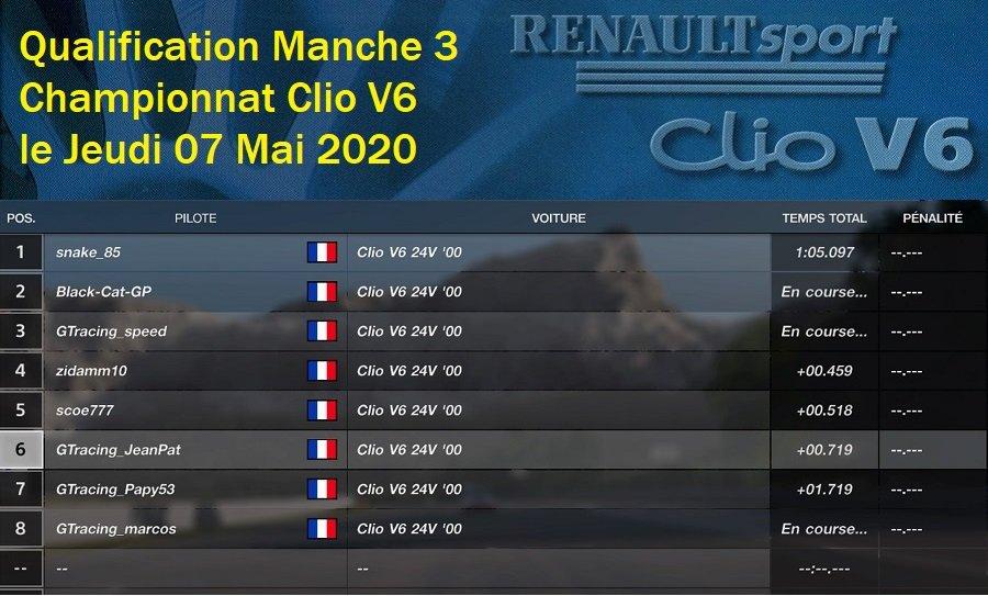 Résultat Manche 3 du Championnat Clio V6 le 07/05/2020 200508022918910868
