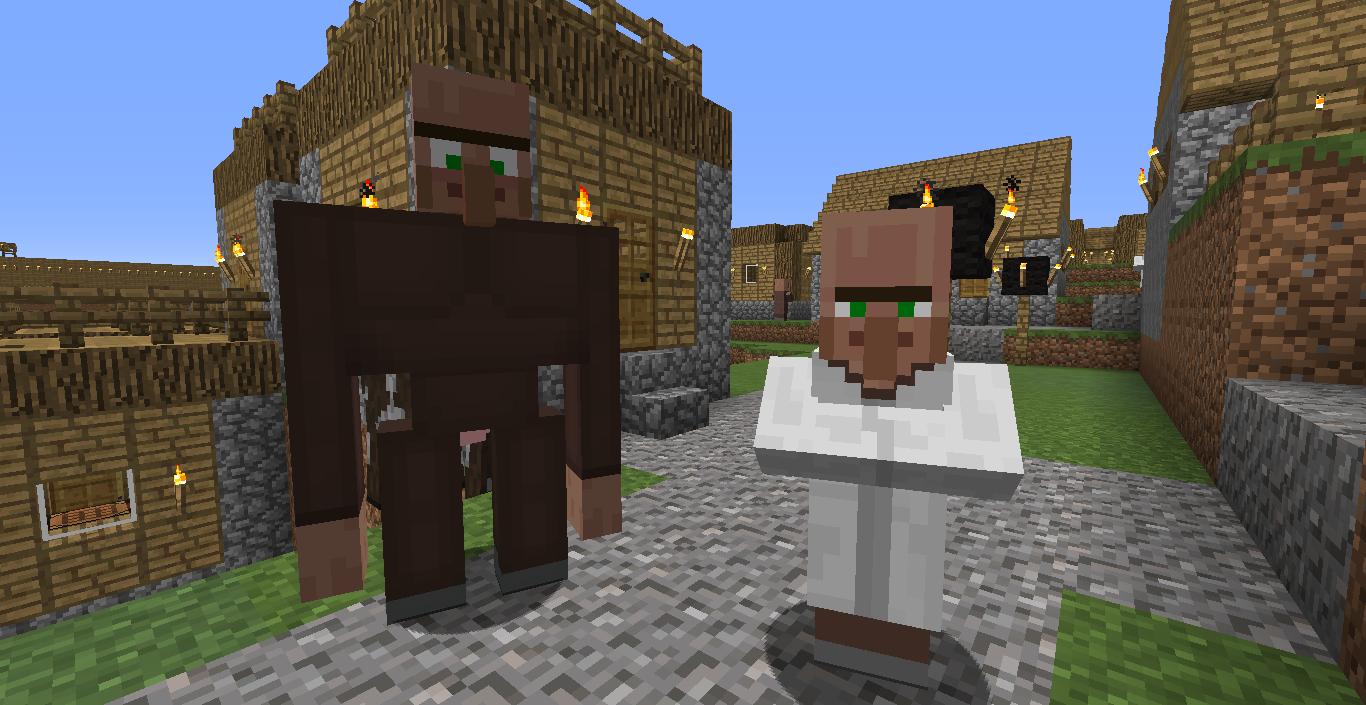 Golem villager next to a villager