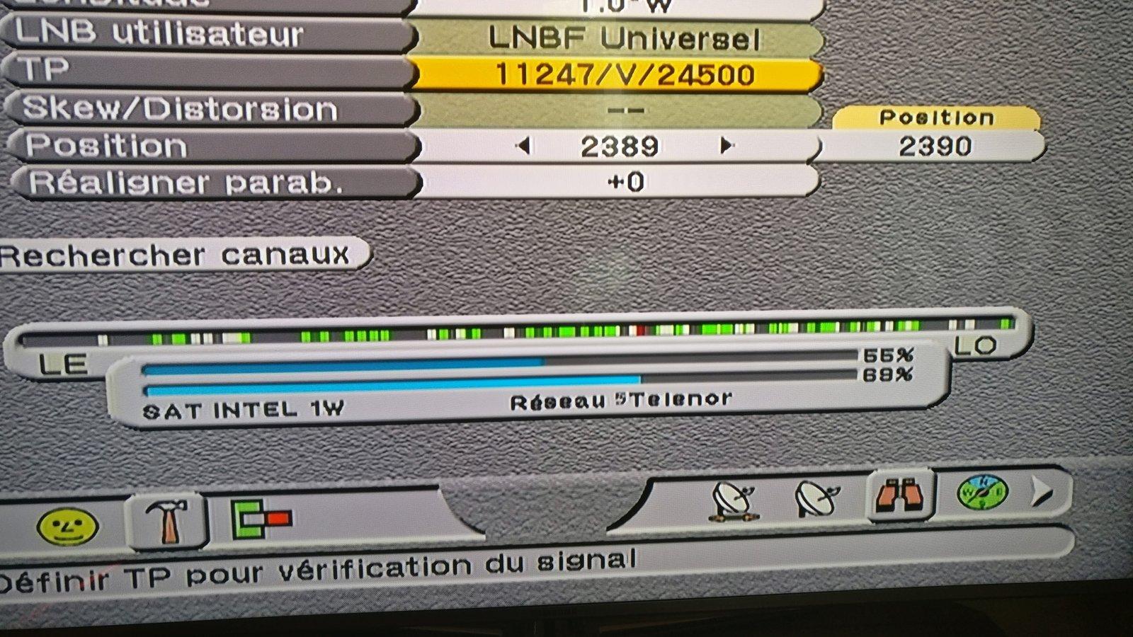 Signal apres Changement du LNB