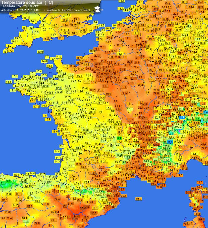 Infoclimat France carte températures 2020-06-11 - 15h