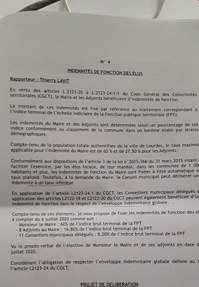 indemnités fonction Lourdes