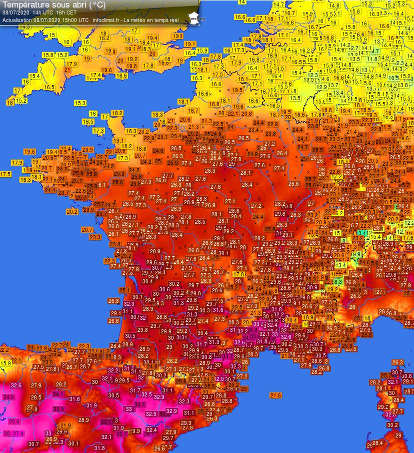 Infoclimat France carte températures 2020-07-08 - 14h