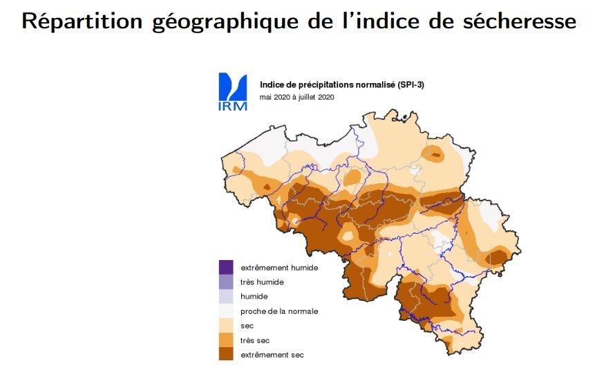 Indice de sécheresse - Mai-juin-juillet 2020