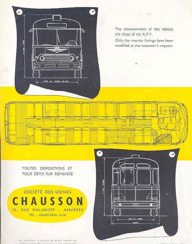 BUS CHAUSSON?BROCHURE 1957 BUS CHAUSSON RATP 1 AGENT, DIAGRAMMES-2?wi8354a