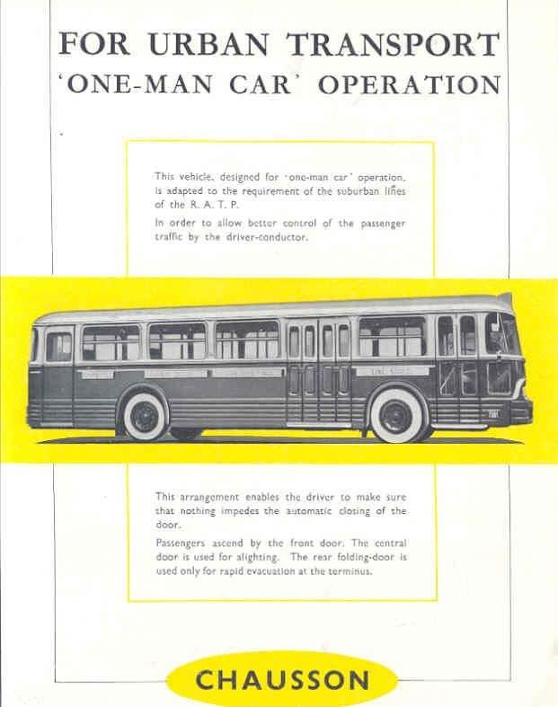 BUS CHAUSSON?BROCHURE 1957 BUS CHAUSSON RATP 1 AGENT, DIAGRAMMES?wi8354