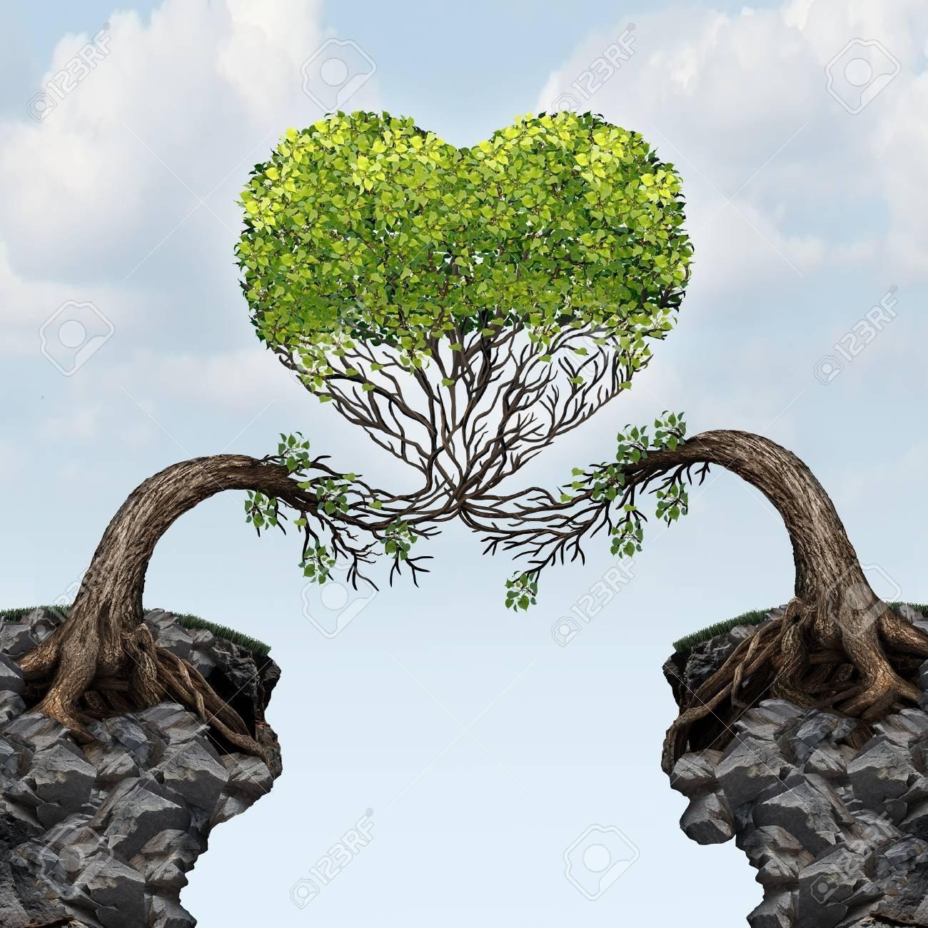 50924311-l-amour-concept-de-connexion-en-tant-que-deux-arbres-sur-les-falaises-divisées-fusionnent-ensemble-