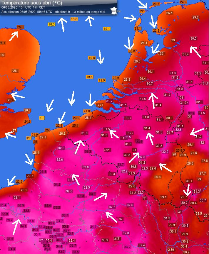Illustration Infoclimat carte températures 2020-08-06 - 15h