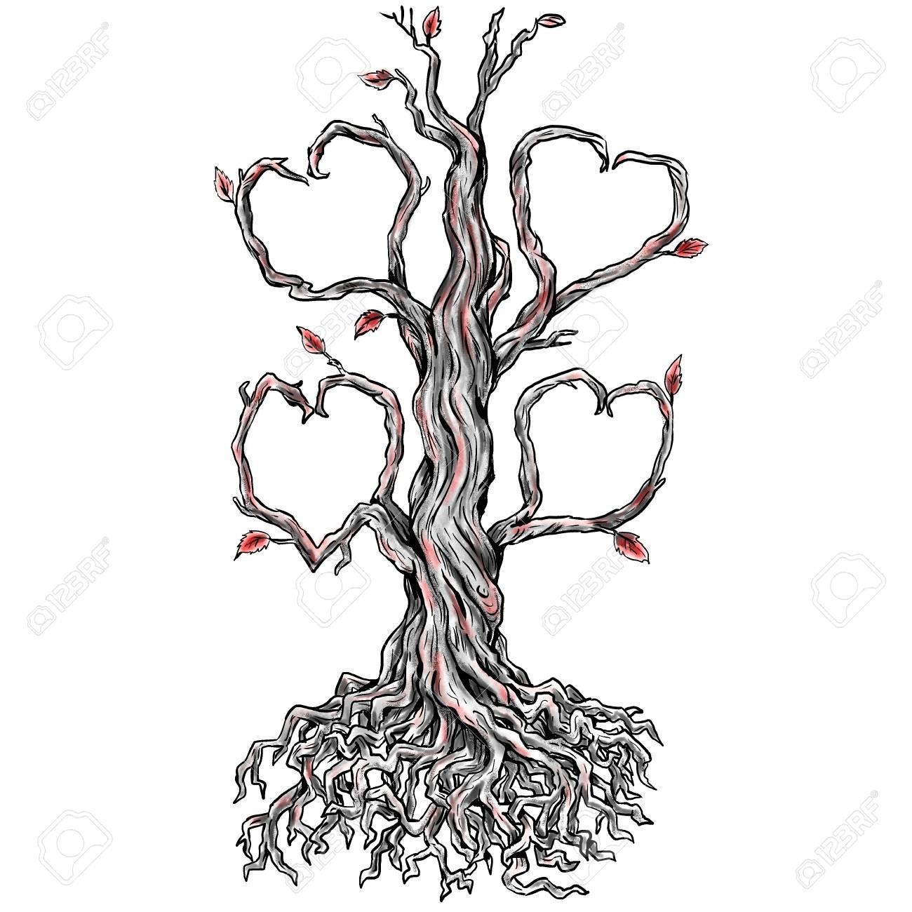 84872197-illustration-de-style-de-tatouage-d-un-chêne-tordu-sans-feuilles-et-branche-formant-dans-le-coeur-e