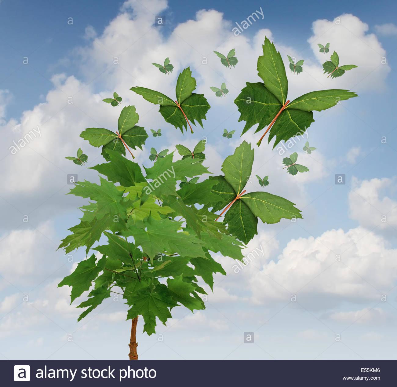 symbole-de-la-liberte-de-la-nature-comme-un-arbre-avec-des-feuilles-vertes-se-transforment-en-formes-papillon-volant-comme-une-metaphore-pour-les-exportations-et-la-distribution-ou-l-espoir-dans