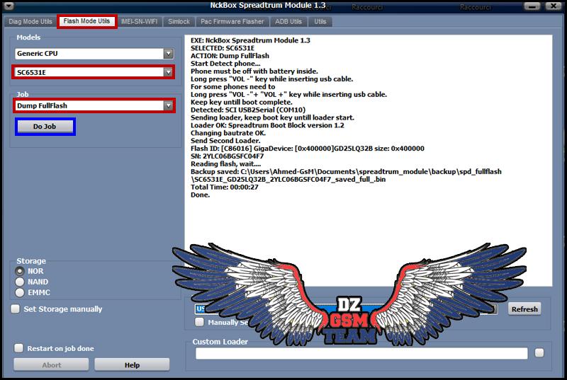 فلاشة Alcatel 2053D مسحوبة عن طريق NCKBOX