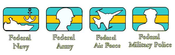 Représentation des 4 armées de la Fédération d'Arkencheen