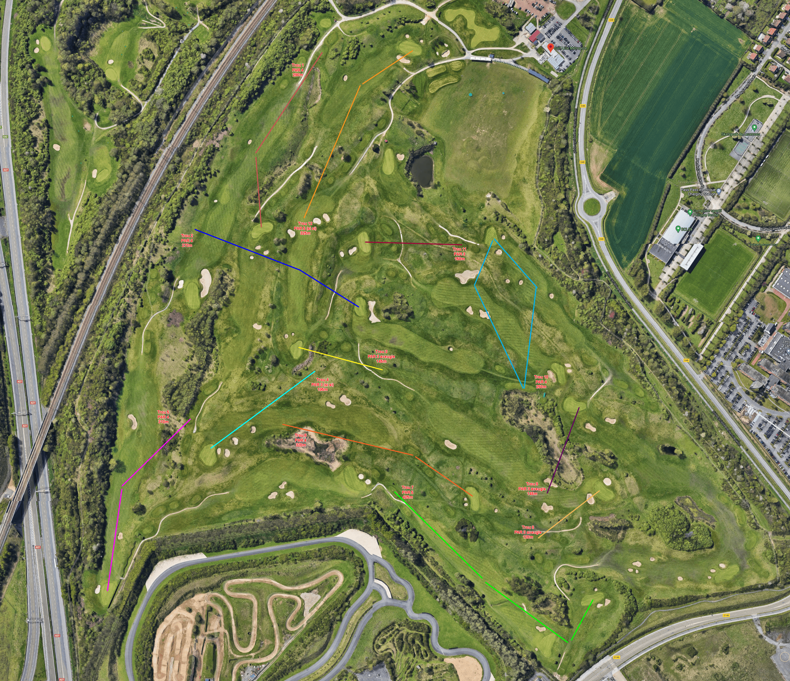 plan golf lille - cross country