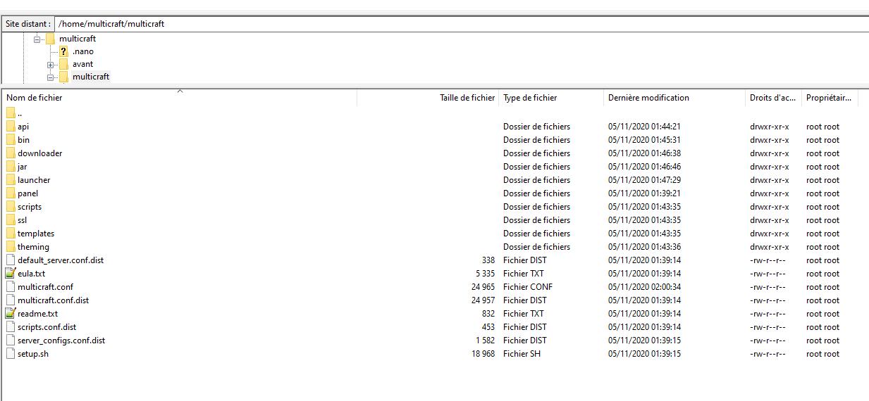 multicraft nouveau serveur - sftproot@193.70.80.134 - FileZilla