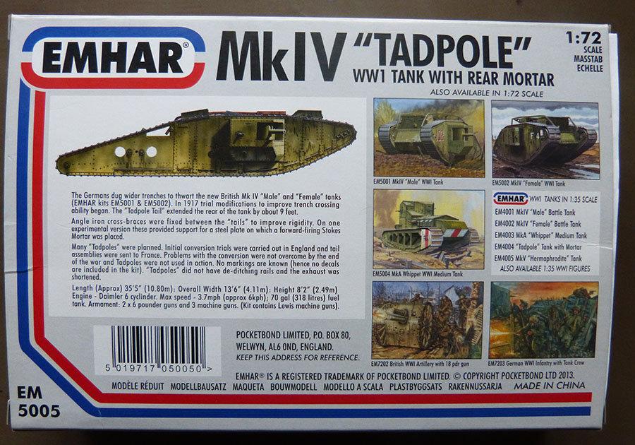 """From the box - Char Mk IV """"Tadpole"""" - Emhar - 1/72 *** Terminé en pg 2 201123115800482100"""