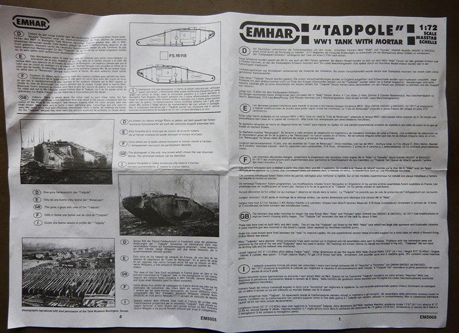 """From the box - Char Mk IV """"Tadpole"""" - Emhar - 1/72 *** Terminé en pg 2 201123115801254241"""