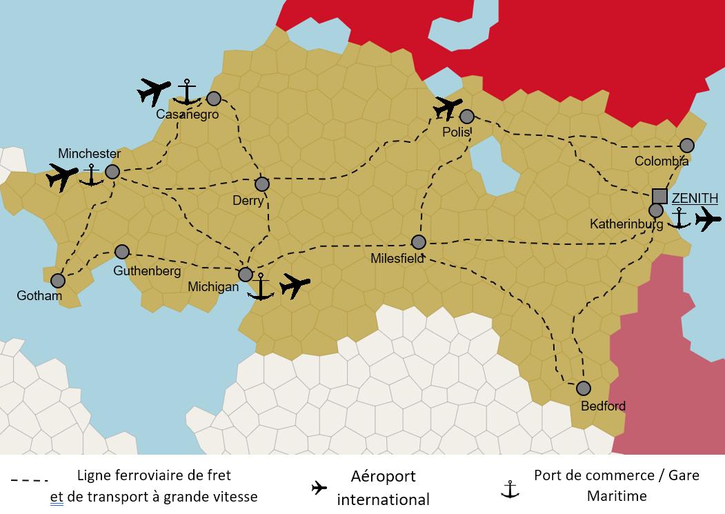 carte ferroviaire et aéro-maritime