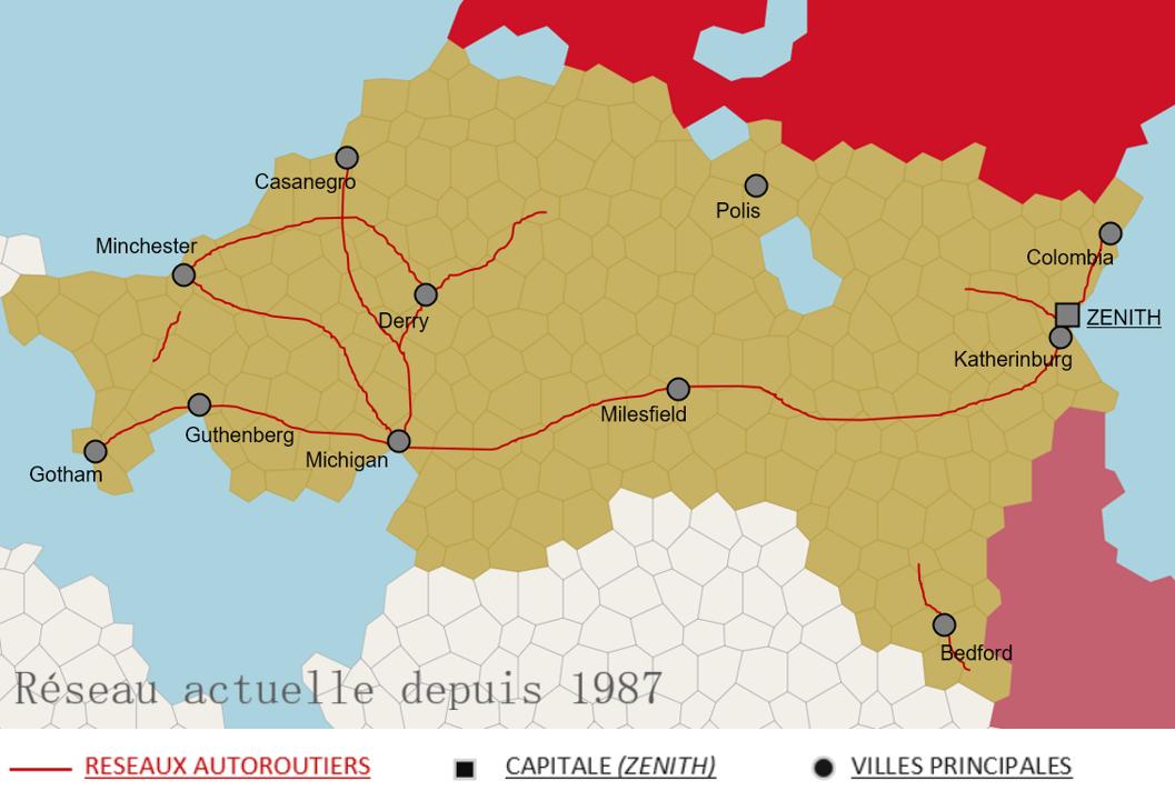 Carte du réseau autoroutiers