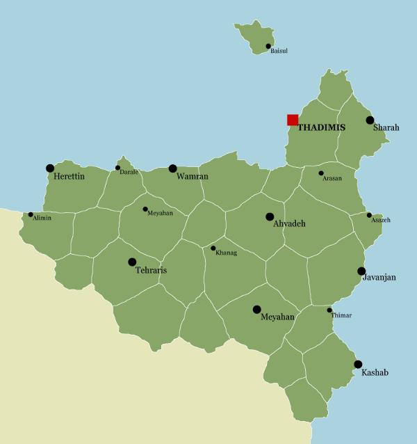 Carte des villes et provinces de Varanya