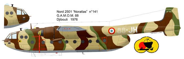 """Fil rouge 2021 * Nord 2501 Noratlas """"Djibouti"""" (Heller 1/72). 210104070730969614"""