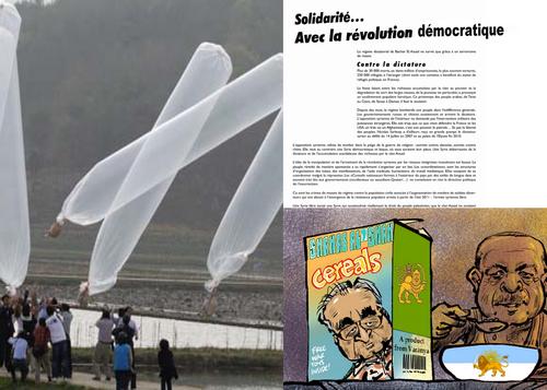 Tractations antigouvernementales par ballons volants gonflés à l'hélium.