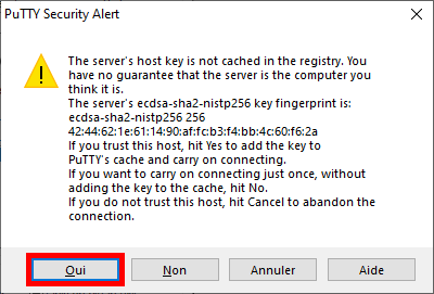 PuTTY Security Alert - RecalBox