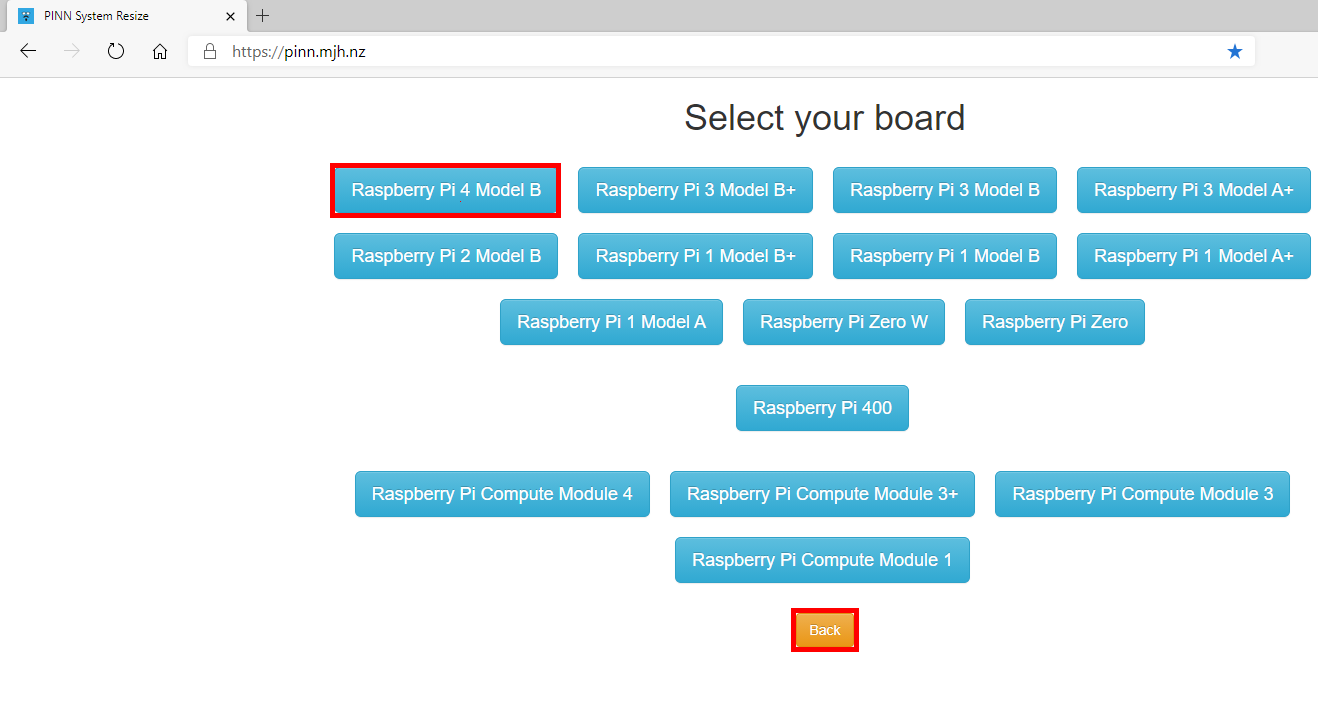 PINN System Resize - Select your board