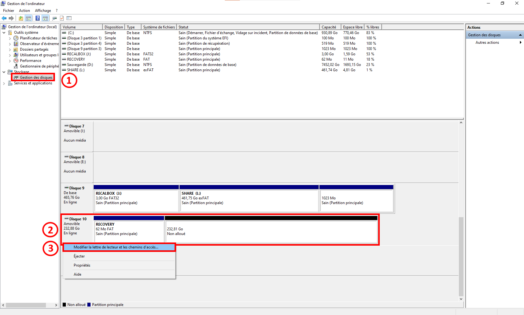 Partition RECOVERY non reconnue