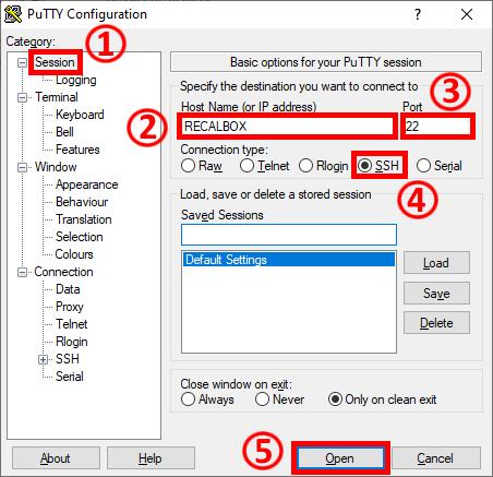 PuTTY Configuration - RecalBox