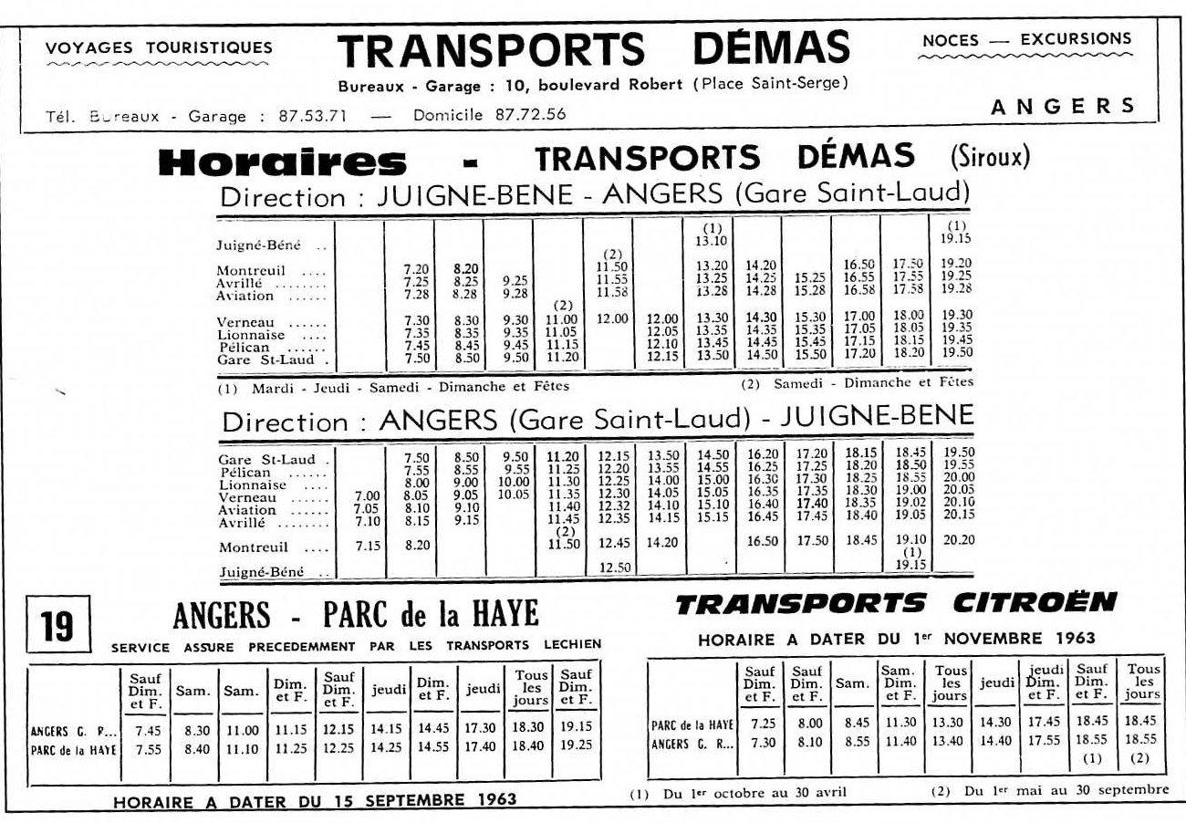 horaires 1963 De?mas+Citroe?n Parc de la Haye