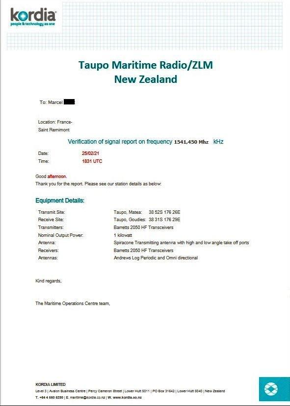 eLettre-QSL de Taupo Maritime Radio/ZLM  210227095650457232