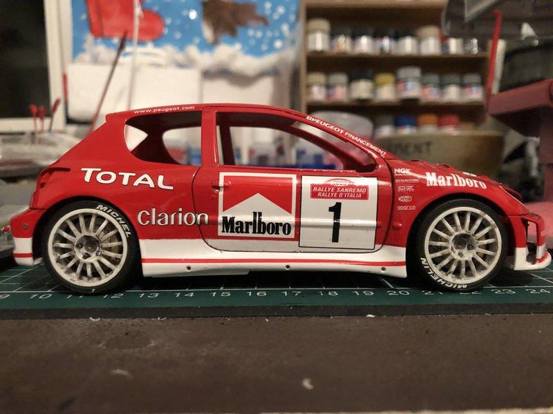 206 WRC 03,Gronholm-Rautianen,  Rallye San Remo, Tamiya 1/24 210308014000493304