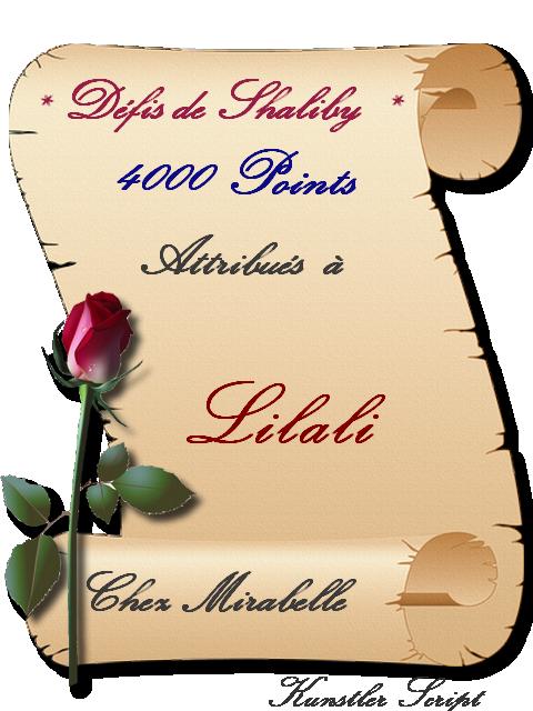 """Récompense : Lilali- 4000 pts """"défis de Shaliby"""" 210330100913577986"""