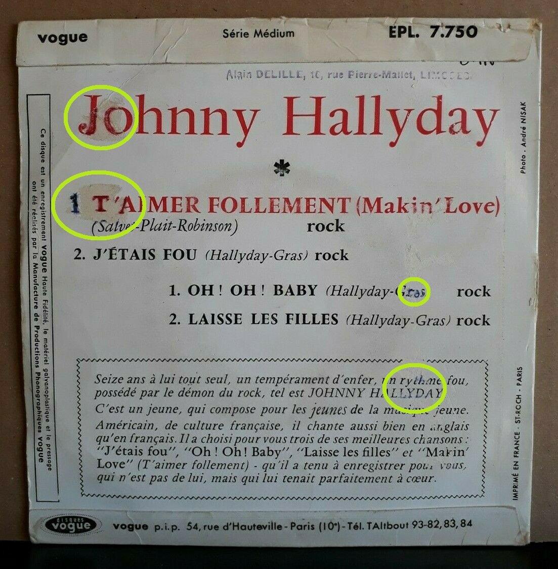 T'aimer follement ( EP 45 TOURS )( TOUTES LES EDITIONS )( 1960 - 2019 ) 210407120716628638