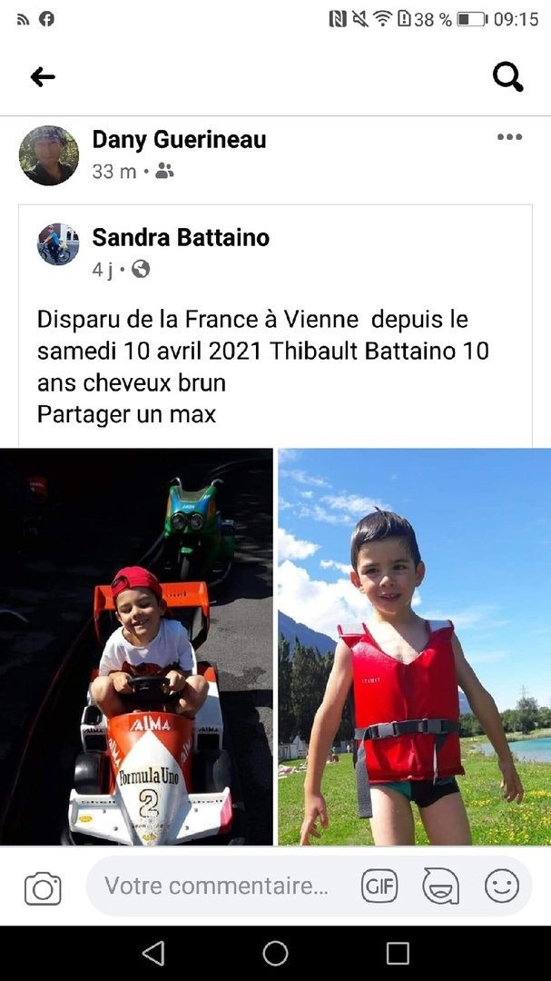 Enfant disparu France Vienne - Child disappeared France  210422114700273107