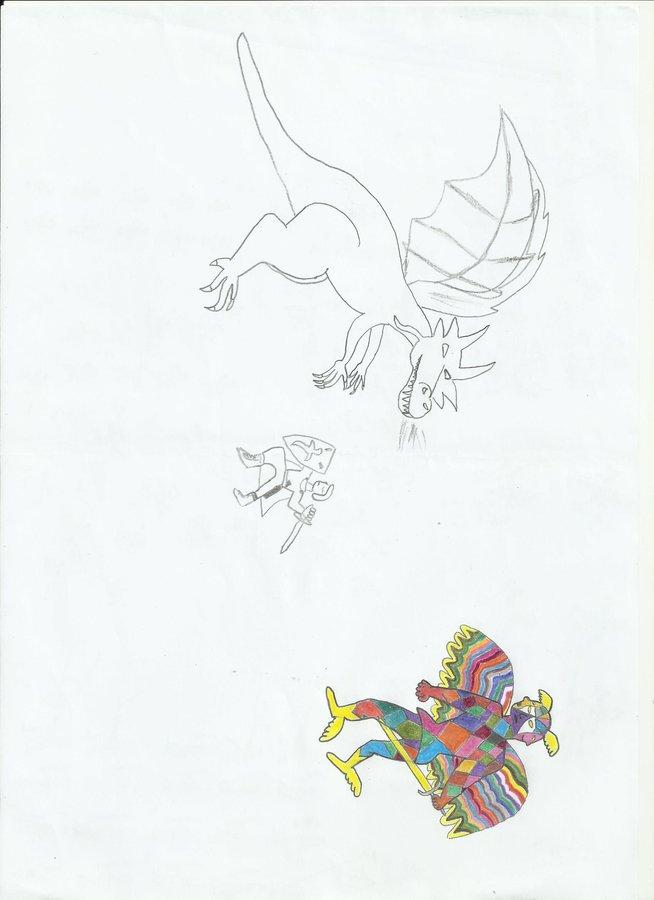 chevalier vs dragon, créature céleste