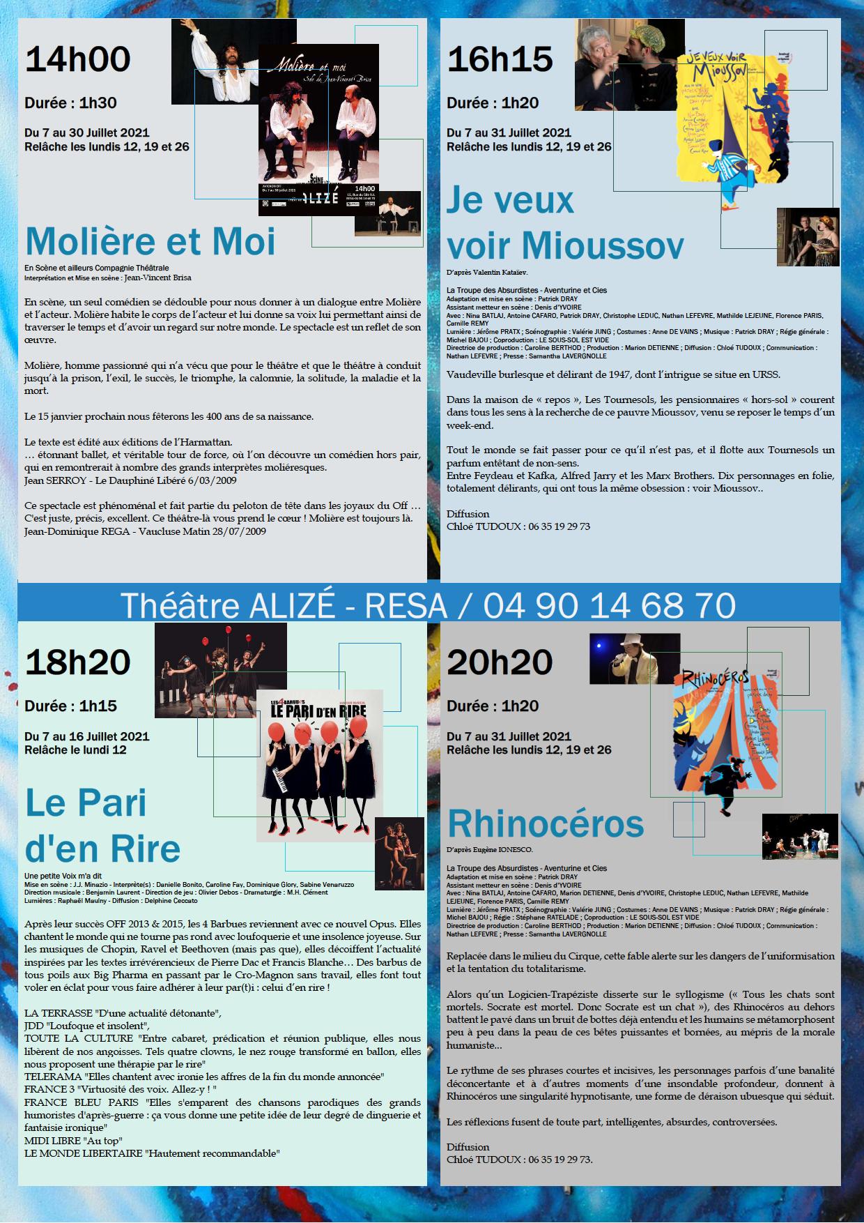 Affiche alize 2021 Programme