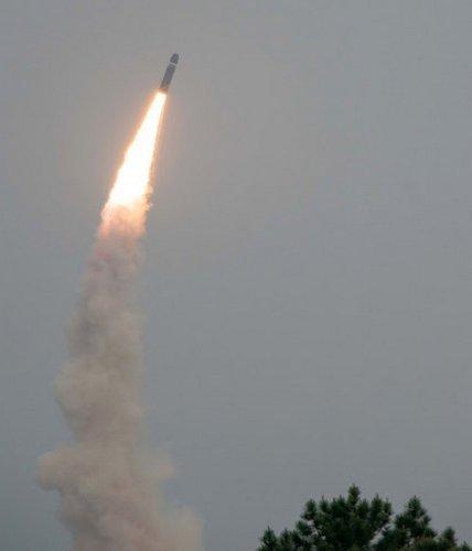 Tir d'essai d'un missile balistique au large de l'île de Guaranquiza.