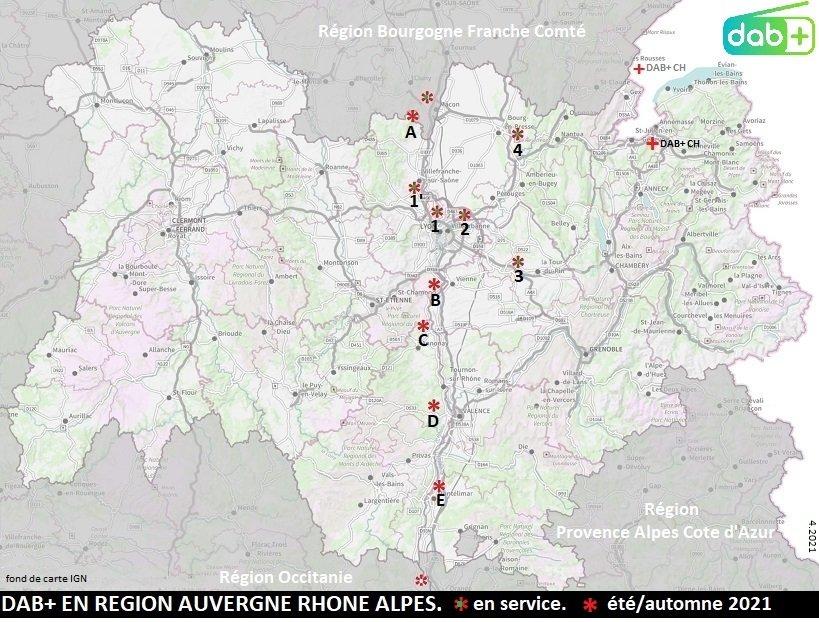 DAB+ RNT VHF Region Auvergne Rhone Alpes 2021