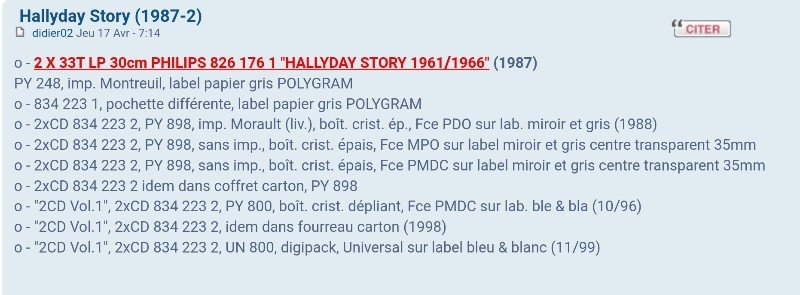 HALLYDAY STORY ( ALBUMS 2 DISQUES )( TOUTES LES EDITIONS )( 1973 - 1988 ) 210727100349303750