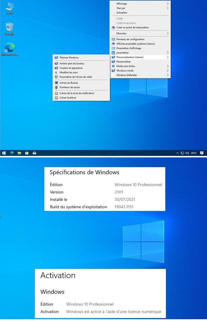 WINDOWS 10 PRO 2104 21H1 Build (19043.1151) X64 FR TEAM WORK